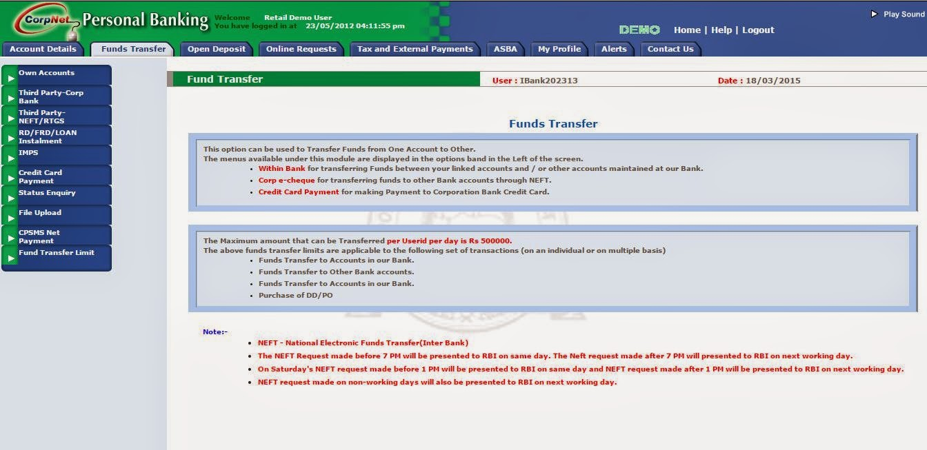 how to create internet banking account in corporation bank